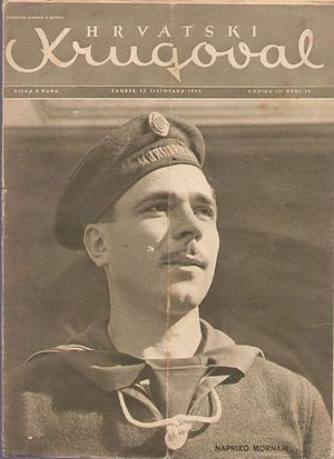 Navy of the Independent State of Croatia - Cover of Hrvatski krugoval magazine from 17 October 1943 with a member of the Navy.