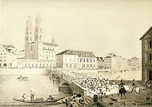 Züriputsch - Kolonne Ralin defeating from Münsterhof square  towards (as of today) Limmatquai, Grossmünster and Wasserkirche (to the right) in the background.