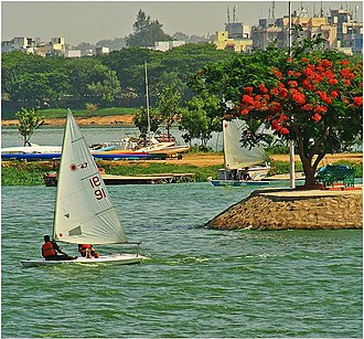 Optimist and Laser dinghies during the Hyderabad Sailing Week Regatta at Hussain Sagar Hussain sagar, sailing festival. Hyderabad India.JPG