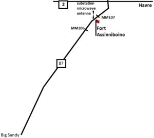 Fort Assinniboine - Image: Hwy 87 Overview to Fort Assinniboine