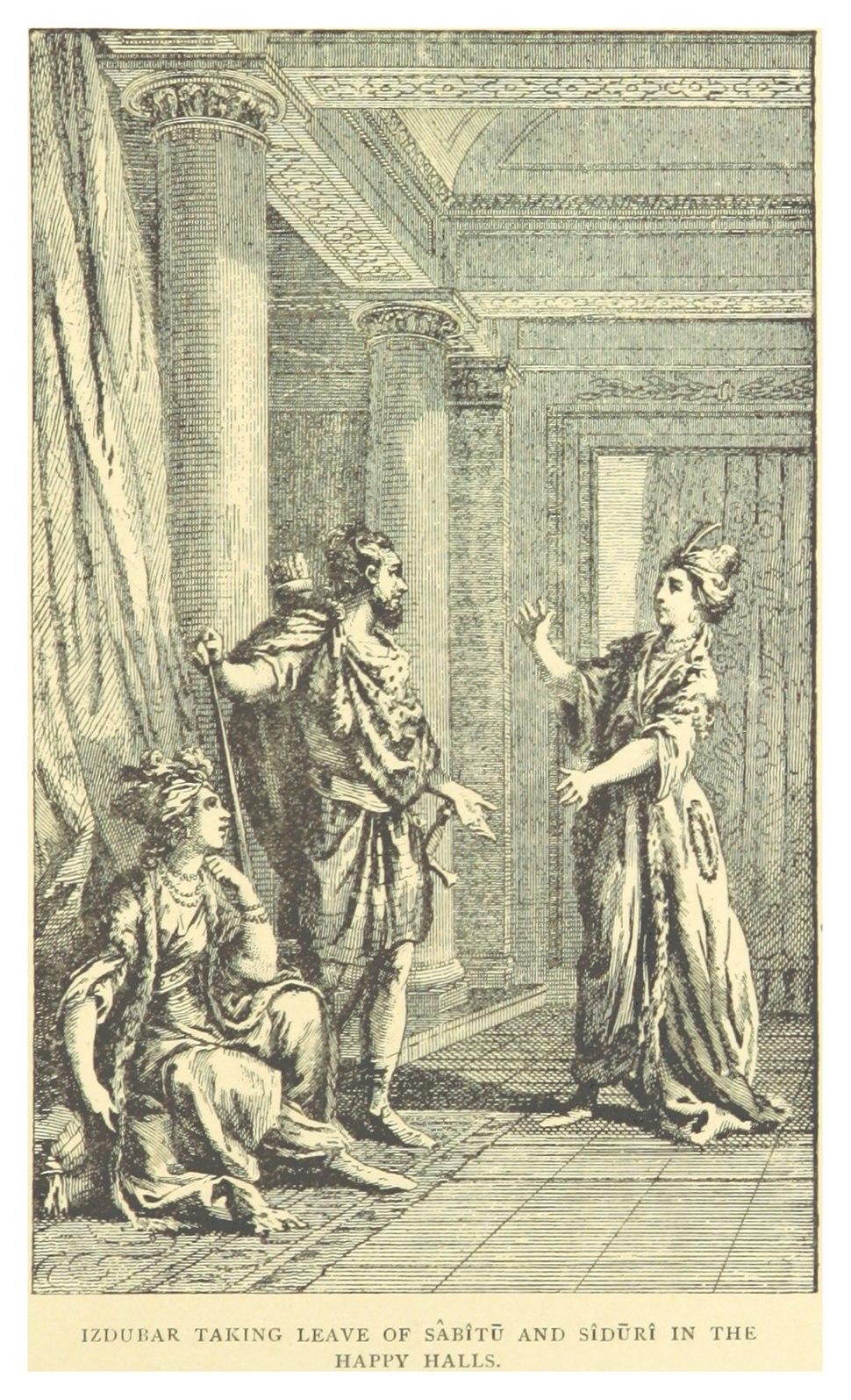 ISHTAR-EPOS p221 IZDUBAR TAKING LEAVE OF SABITU AND SIDURI IN THE HAPPY HALLS