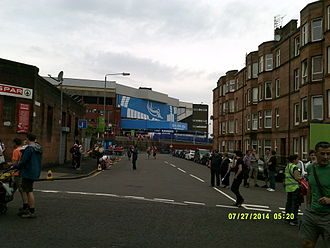 """Ibrox Stadium - The exterior of Ibrox, showing its """"livery"""" for the Commonwealth Games rugby sevens"""