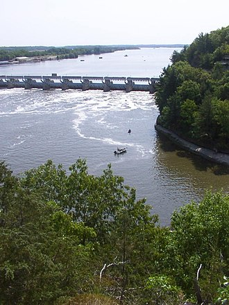 Illinois River - The Illinois River, as seen from Starved Rock State Park. The dam (upper-left center) is part of the infrastructure of the Illinois Waterway.