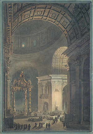 Francesco Piranesi - Illumination of the Lenten Cross, etching by Francesco Piranesi, coloring by Louis-Jean Desprez
