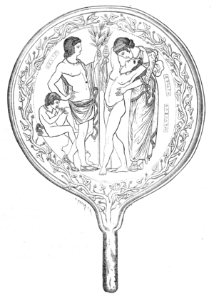Semele - Drawing from an Etruscan mirror: Semele embracing her son Dionysus, with Apollo looking on and a satyr playing an aulos