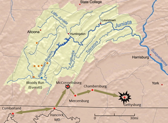 Jacob C. Higgins - Movements of General Imboden's Confederate cavalry are shown in brown, Union General Milroy's position at Bloody Run is shown in blue, and makeshift forts by Militia under the command of Col. Higgins are shown in orange. The yellow region depicts the extents of Juniata Iron operations. Underlying map of Juniata River watershed by Karl Musser; Adaptation for Civil War historical purposes by Donald E. Coho without endorsement by Karl Musser