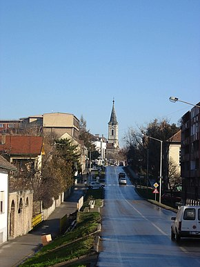 Inđija, town centre and a Catholic Church.jpg