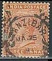 India postage Queen Victoria stamp used in Zanzibar - Orange three annas, before 1900.jpg