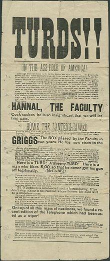 Bogus scritto e distribuito da studenti Indiana University nel 1890. L'Agenzia Pinkerton è stato assunto per trovare gli autori.