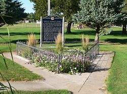 Indianola town park: grave of Pawnee victim of Massacre Canyon event