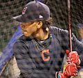 Indians shortstop Francisco Lindor takes batting practice at Wrigley Field. (30009670523).jpg