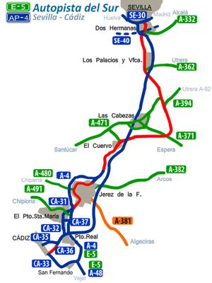 Autovía A-4 - Image: Intinerario AP4