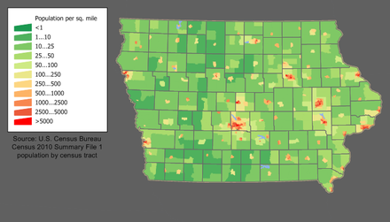 Iowa population density map Iowa population map.png