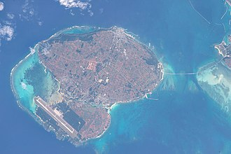 Irabu Island - Irabu Island is in the center, Shimoji Island below, and the Irabu Bridge to the right