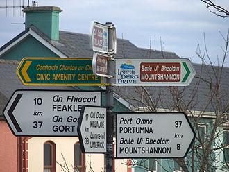 Transport (typeface) - Image: Irishroadsign