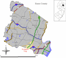 Map of Irvington in Essex County. Inset: Essex County highlighted in the State of New Jersey.