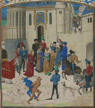 Isabeau of Bavaria - Miniature from Froissart's ''Chronicles'', showing entertainers and acrobats at Isabeau's coronation