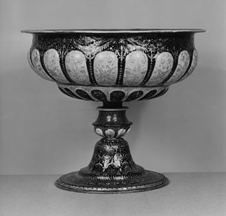 Gadrooning - Italian late 16th-century enameled copper footed bowl, with several registers of gadrooning (Walters Art Museum)