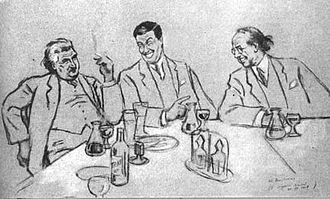 Václav Talich - The caricature of Josef Suk, Václav Talich and Vítězslav Novák by Hugo Boettinger