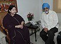 J. Jayalalithaa meeting the Deputy Chairman, Planning Commission, Shri Montek Singh Ahluwalia for finalization of Annual Plan outlay for 2011-12 of the Tamil Nadu, in New Delhi on July 06, 2011.jpg