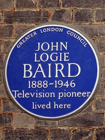 Blue plaque erected by Greater London Council at 3 Crescent Wood Road, Sydenham, London JOHN LOGIE BAIRD 1888-1946 Television pioneer lived here.jpg