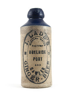 English: Bottle used for J. Ladd's ginger beer...