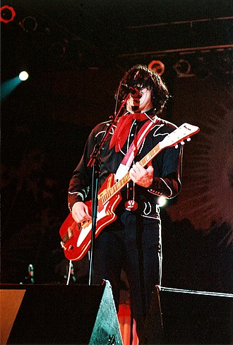 The White Stripes - Jack—live in 2005—playing the JB Hutto Montgomery Airline, which became his signature guitar with The White Stripes.
