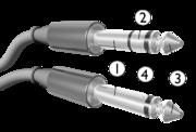 Configuração do conector P2: 1. GND; 2. Canal Direito de áudio; 3. Em mono é o positivo, em Estéreo é o canal esquerdo; 4. Isolante.