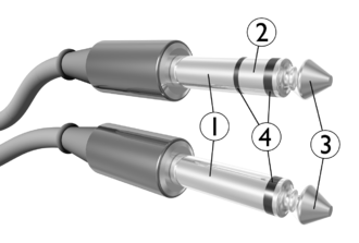 Tip and ring - 1: Sleeve, 2: Ring, 3: Tip, 4: Insulators