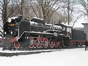 Sakhalin Oblast - This Japanese D51 steam locomotive  stands outside present day Yuzhno-Sakhalinsk Railway Station Sakhalin Island, Russia