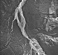 Jarvis Glacier, valley glacier terminus covered in rocks, September 17, 1966 (GLACIERS 5234).jpg