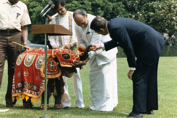 Jayewardene presents elephant to Reagan
