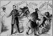 "Black-and-white sketch with the words ""Dr. Jekyll & Mr. Hyde"" across the top and labels identifying the characters in the drawing. On the left, Agnes Carew shakes hands with Dr. Jekyll. In the center, Mr. Hyde strangles General Carew. On the right, Gabriel Utterson speaks to Mr. Hyde."