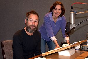 "Jeremy Northam - Jeremy Northam with author Michelle Paver recording Paver's audio book ""Dark Matter"""