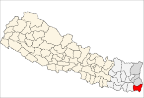 Jhapa District i Mechi Zone (grå) i Eastern Development Region (grå + lysegrå)