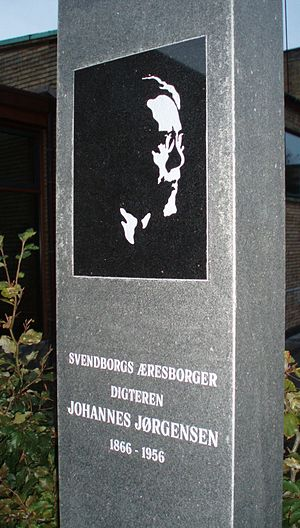 Johannes Jørgensen - At the 50-year anniversary of Johannes Jørgensen's death in 2006 a memorial was erected in Svendborg for the city's honorary citizen.
