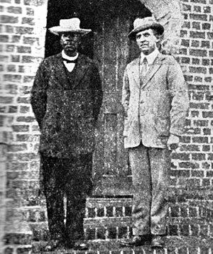 Chilembwe uprising - The last known photo of John Chilembwe (left), taken in 1914