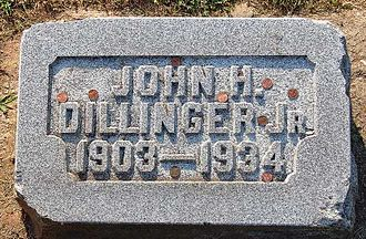 John Dillinger - Grave at Crown Hill Cemetery, Indianapolis, Indiana; at least the fourth marker to be replaced since 1934, due to souvenir seekers chipping away at them
