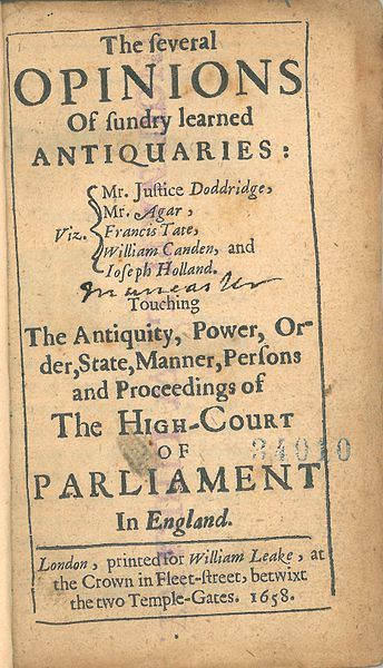 File:John Doddridge, The Several Opinions of Sundry Learned Antiquaries (1658, title page).jpg