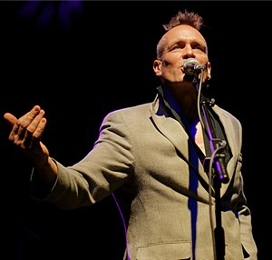 John Robb (musician) - John Robb compering Justice Tonight : In Aid of the Hillsborough Justice Campaign, HMV Ritz Manchester, 2011.