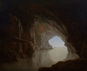 Joseph Wright of Derby - Cave at evening, (aka Grotto in the Gulf of Salerno) by Joseph Wright, 1774,  Smith College Museum of Art, Northampton, Massachusetts