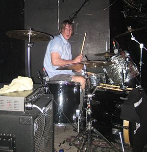 Jon Card - Jon Card playing drums for the Subhumans, September 2010, in Montreal