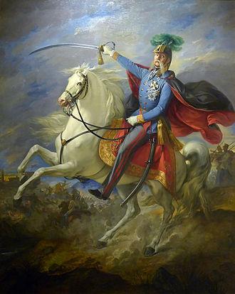 Julius Jacob von Haynau - Painting by Giuseppe Bezzoli in 1853 depicting Haynau in command of his troops.