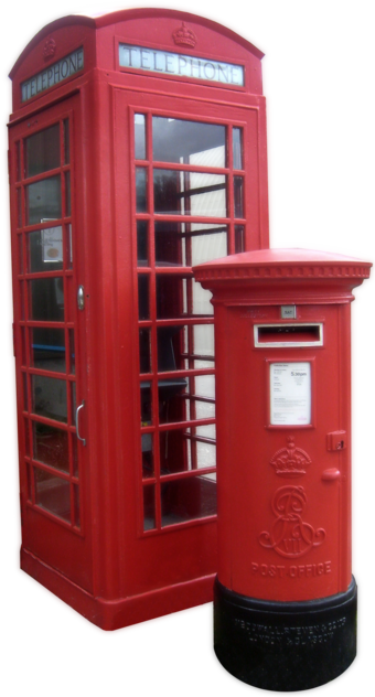 A red telephone box and a Royal Mail red pillar box, seen throughout the UK