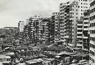 Kowloon Walled City - The south side of the Kowloon Walled City in 1975. The elevation of the buildings begins to reach its maximum height.
