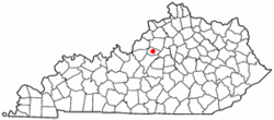 Location of Taylorsville, Kentucky