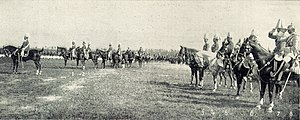 "Military exercise - German pre-war military exercise ""Herbstmanöver"" in southern Germany autumn 1909 (Emperor Wilhelm II second on the left)"