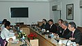 Kamal Nath meeting with the Brazilian business delegation led by the President of National Confederation of Industry and Member of the Chamber of Deputies, Mr. Armando Monteiro Nato, in New Delhi on June 4, 2007.jpg
