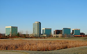 Kanata, Ontario - Kanata Research Park and Brookstreet Hotel with Marshes Golf Club in foreground