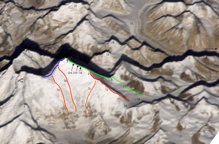 Kangshung Face of Mount Everest with its northeast ridge (No. 12, right) and the Three Pinnacles (No. 8) Kangshung-06.PNG